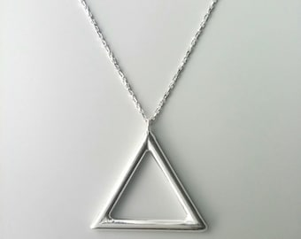 Triangle necklace / 925/000 Silver / silver necklace solid 925 triangle - Necklace silver sterling 925 - triangle