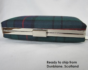 Clan Lockhart Tartan Clutch Bag Purse Miniaudiere, Made in Scotland, Perfect Gift for Evening out, Wedding, Ceidlidh or Burns Night