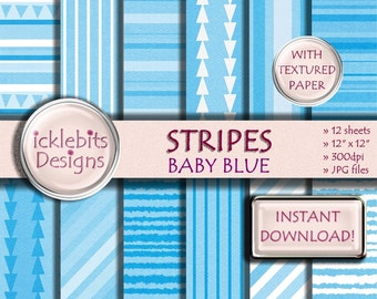 "Blue Stripes TEXTURED Digital Paper Pack, ""BABY BLUE"" For Scrapbooking, high resolution, striped, triangles, Design #31"