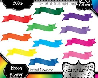 INSTANT DOWNLOAD 120 Digital Printable Clipart Ribbon Banner. Scrapbook, Card Making, Planner etc