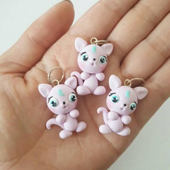 Cute Moon Kitty Polymer Clay Charm, Kitty Polymer Clay Pendant, Cat, Purple,  Charm, polymer clay, clay pendant, Kawaii, Chibi, Clay Charm