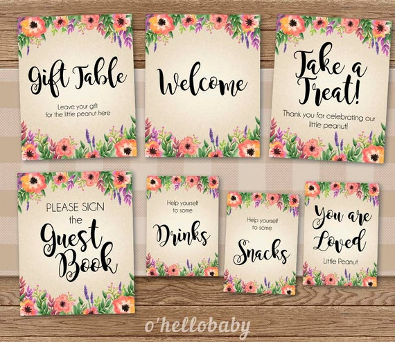 Amazing Floral Theme Baby Shower Table Signs Pack Guest Book Sign