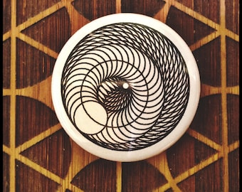 Geometric Magnet and/or Pinback Button Spiral Mandala Crystal Moon Sacred Geometry