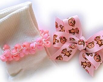 Kathy's Beaded Socks - Pink Monkeys Beaded Socks, girls socks, school socks, pink socks, monkey socks, Easter socks, pony bead socks
