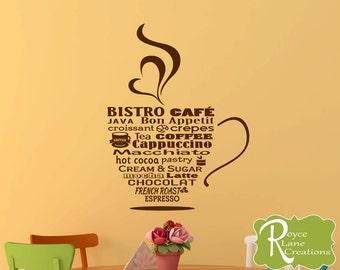 Kitchen Wall Decal- Bistro Cafe Bistro Sign Coffee Word Art  Coffee Art- Coffee Decor Kitchen- Coffee Wall Decal- Coffee Decal