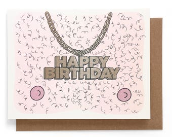 Hairy Birthday Risograph note card