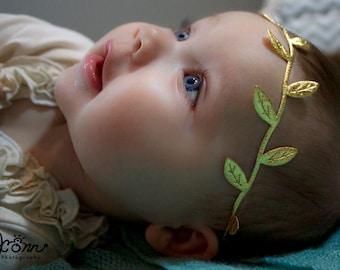Gold Leaf Headband, Grecian Goddess Headband, Gold Hair Bow, Gold Headband, Baby Headband Newborn Headband Boho Headband