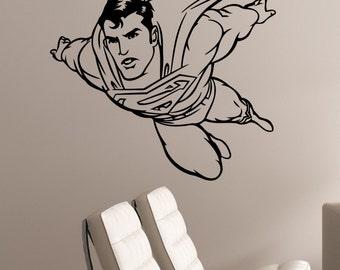 Superman Wall Decal Vinyl Sticker DC Comics Superhero Art Decorations for Home Housewares Teen Kids Boys Room Bedroom Cartoon Decor sup1