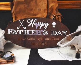Father's Day Customized Engraved Gift Plaque for Golfer, Fisherman, Sailor