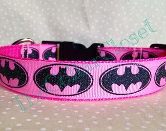 Pink Glitter Batman Dog Collar