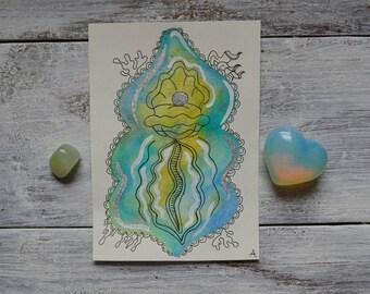 PEARL / Mermaid Inspired Watercolor Yoni Painting, Vulva Painting, Vagina Painting, Labia, Feminine Art, Fertility Art, Body Positive Art