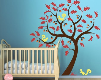 Oak Tree Decal Squirrels and Acorns - Nursery decals - Kids room Decal Wall Sticker
