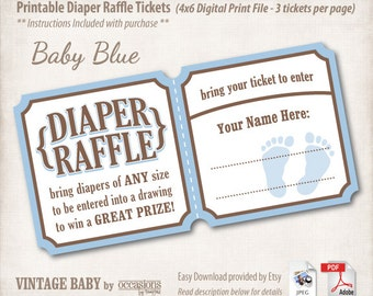 INSTANT DOWNLOAD, Printable Baby Shower Diaper Raffle Tickets, 4x6, Digital File, Vintage Baby, Baby Blue, Baby Boy