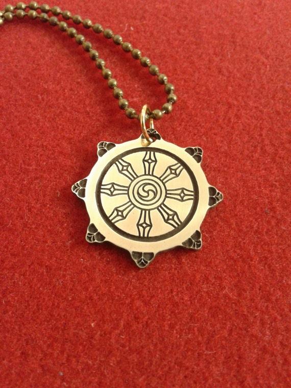 Dharmacakra wheel of dharma pendant buddhism necklace dharmacakra wheel of dharma pendant buddhism necklace aloadofball Gallery