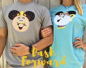 Cogsworth and Mrs. Potts Monogrammed Tshirt/Tanks, couple, vacation, travel, monogram, applique