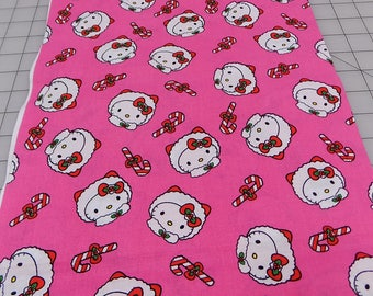 Hello Kitty Fabric, Hello Kitty Packed Eskimo Heads, Christmas, Pink, Eskimo, Heads, Candy Canes, Sanrio Co, Cotton, Fabric by the Yard
