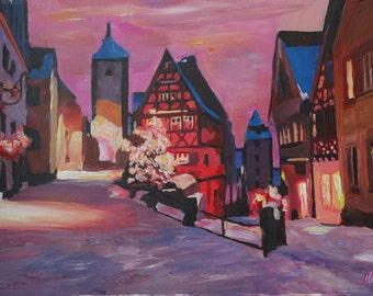 Romantic Rothenburg Tauber Germany Winter Dream Land - Fine Art Print Giclee - Original Available
