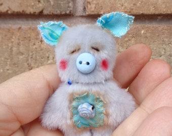 Handmade Mini Teddy Bear Piggy Kawaii Softie Plush by Woollybuttbears - perfect pet for Blythe doll