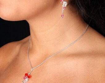 SALE Swarovski Crystal Multi Color Y Bridal Necklace Earrings, the Alyse