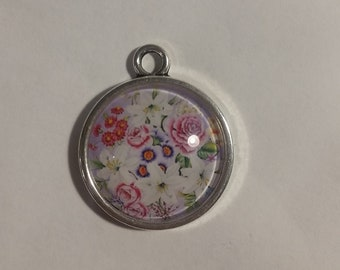 Glass cabochon Flower Motif 20 mm