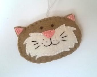 Smiling cat ornament - handmande felt ornaments - Christmas/Housewarming home decor - Baby shower - eco friendly - Christmas ornament