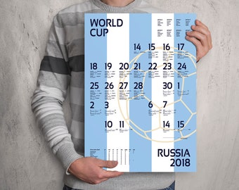 World Cup 2018 wall chart poster. Customizable World Cup wall chart. Argentina . FAST SHIPPING