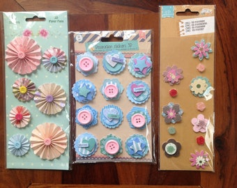 set of 3 boards, scrapbooking embellishments, crafting, 3D stickers