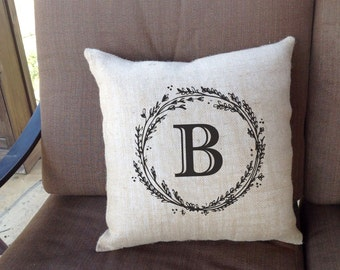 "Monogramed Linen Throw Pillow 16""x16""  - AH"