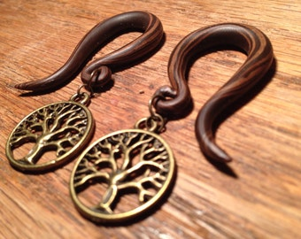 Simulated wood GAUGED EARRINGS 6g-00g choose your size and dangling charm (Tree of Life, Hamsa, Lotus, Om, etc)