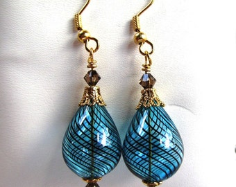 14mm Blown Glass Tear Drop Dangle Earrings in Blue and Brown with Swarovski Crystals