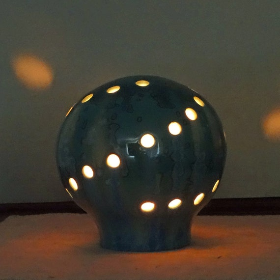 subdued lighting. Ceramic Blue And Green Globe Candle Holder For Subdued Lighting, Mood Lamp Lighting