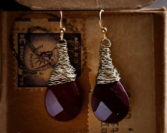 Merlot - Strung-Out guitar string earrings with burgundy mookaite jasper stones