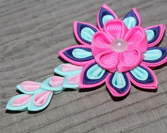 Pink and blue hair clip Gift for her flower Hair Clip Wedding Accessories Kanzashi clip with falls Unique flower hair clip Kanzashi Flower