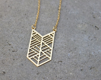 Gold Chevron Necklace // 16K Gold // Minimal Necklace // Layering Necklace // Geometric Necklace // Arrow Necklace