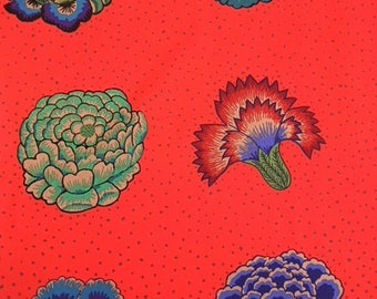 2 yards- Corsage in scarlet red from Kaffe Fassett
