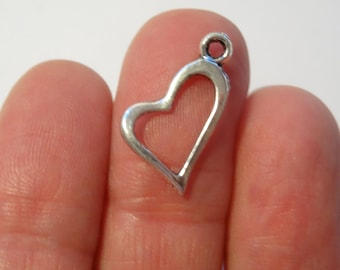 13 Heart Charms Antique Silver - HEART05
