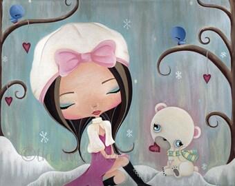 Girls Art Print, Winter, Polar Bear, Girls Wall Art, Whimsical, Birds, Hearts, Love, Snow, Girls Room Decor