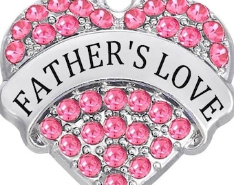 1 Pink Rhinestone Heart Father's Love Charms Antique Silver Dad Daddy Pa Family Parent Word Bangle Necklace Bookmark Key Chain Pendants 1374