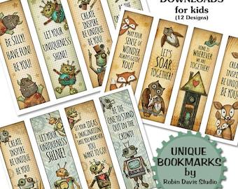 DIY bookmarks, Teacher Bookmarks, printable bookmarks, unique Bookmarks, Encouragement, Robot bookmarks, Fox bookmark, Robin Davis Studio
