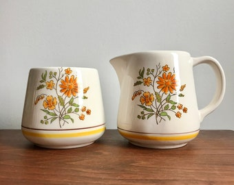 Vintage Geni Japan Country Flowers Coffee Tea Sugar Bowl and Creamer Set
