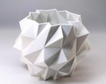 Polygon Art Planter 3d Printed Modern Desk Decor Modern White Geometric Planter Snow Ball 3d Polygon Decor White Polygon Unique Planter