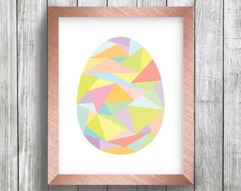 Easter Egg Geometric Colorful Digital Art Printable, Holiday, Home Decor, 8 x 10, Wall Art, Print Yourself