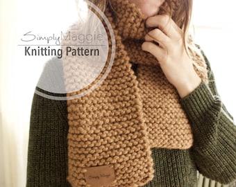 Knitting Pattern // Big Stitch Garter Scarf Pattern // Beginner's Pattern // Chunky Scarf // Simply Maggie