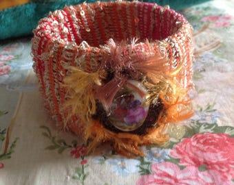 Textile art. Early fall. Wide Bangle,