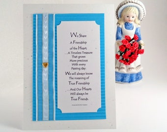BFF FRIENDSHIP GIFT –Sentimental All Occasion UnFramed 5x7 Wall Print Poem with 24kGP Heart Charm Accent in Cottage Chic Design by RosaLinda