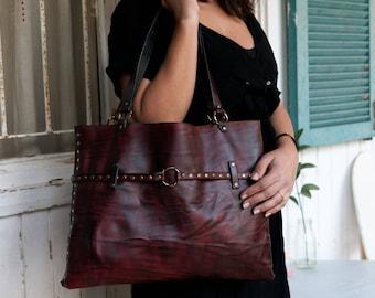 "Red Leather Tote Bag, Leather Tote, Leather Bag, Women""s Bag, Shoulder Bag, Red Tote Bag, Red Leather Hand Bag, Large Leather Tote Bag"