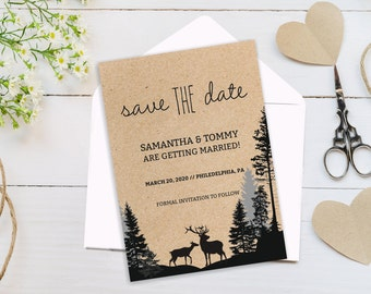 Save the Date Card Template, Printable Deers Save the Date Card Winter save the date DIY Instant download, Editable text, wedding stationary