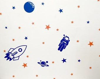 Space Wall Decals/ Outer Space Nursery Decor/ Rocket Ship Decor/ Astronaut Wall Decal/ Planet Decor/ Kids Space Decor/ Boys/ FREE SHIPPING