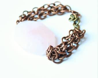 Pink quartz bracelet, Stone bracelet, chunky stone bracelet, chain bracelet