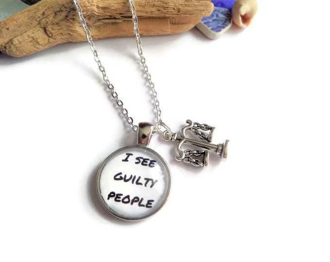 Law necklace, guilty gift, lawyer keyring, guilty people gift, law bracelet, fandom gift crime, novelty gift, justice gift, sandykissesuk